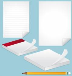 Blank pages note and pencil vector