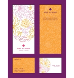 Flowers outlined vertical frame pattern invitation vector