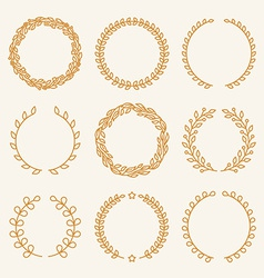 Set of linear wreaths vector