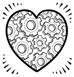 Gears and heart vector