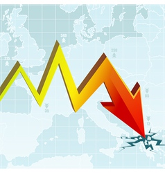 Graph of the economic crisis on the european map w vector