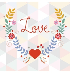Valentines day card with floral wreath vector