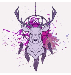 With deer dream catcher and watercolor spla vector