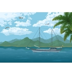 Sea landscape with ship mountains and birds vector