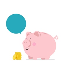 Piggy bank flat icon with blank bubble text vector