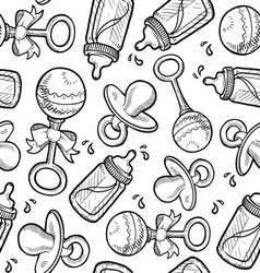 Baby objects pattern vector