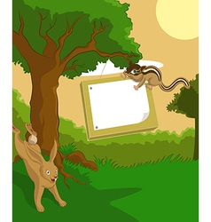 Wood plate with hare vector