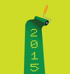 Paint roller in green color with 2015 year vector