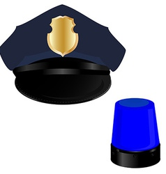 Police hat and light vector