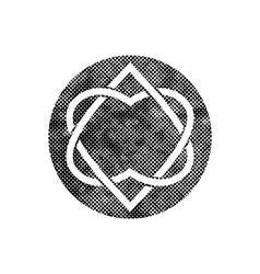 Two hearts linked symbol with pixel print halftone vector