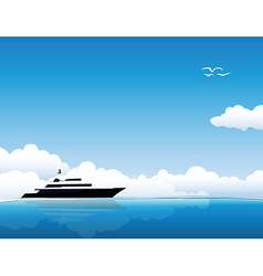 Yacht on sea vector