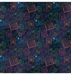 Neon seamless pattern back to schoolon a dark vector