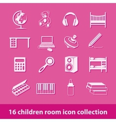 Children room icons vector