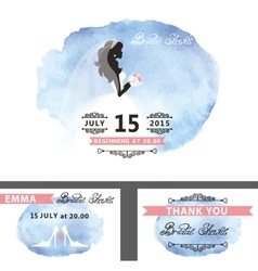 Bridal shower template setbridewatercolor cyan vector