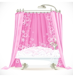 Vintage claw-foot bathtub and a pink curtain on vector