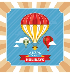 Vintage greeting card with hot air balloons vector