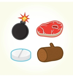 Bomb steak pill log icons vector