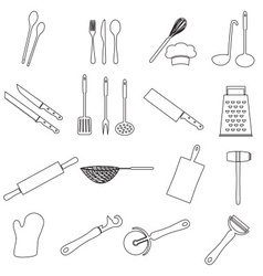 Home kitchen cooking utensils outline icon eps10 vector
