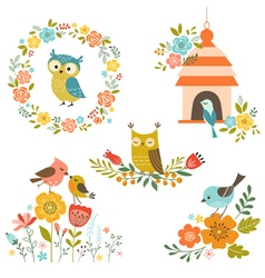 Birds and flowers vector