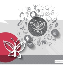 Paper and hand drawn butterfly emblem with icons vector