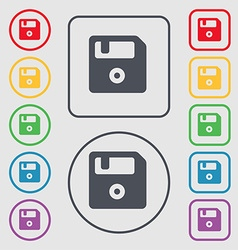 Floppy icon sign symbol on the round and square vector