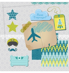 Scrapbook design elements - airplane party set vector