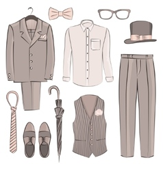 Sketch groom clothing vector