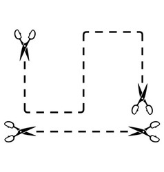 Set black dotted line with scissors cut on white vector