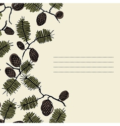 Frame for text with fir cone and twig vector