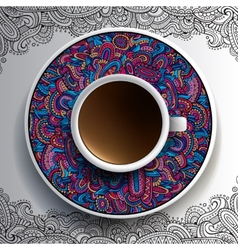 Cup of coffee and hand drawn ornament vector