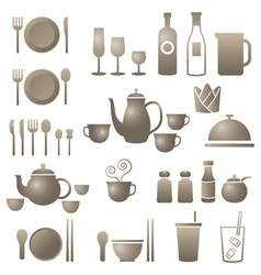Dinner restaurant and eating icons set vector
