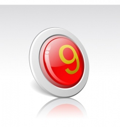 Button with the number 9 vector