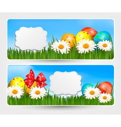 Easter banners with easter eggs and colorful vector