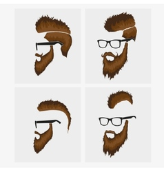 Hairstyles with a beard and mustache wearing vector
