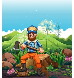 A lumberjack cutting the trees near the mountain vector