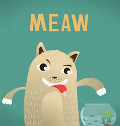 Cat hungry and fish vector
