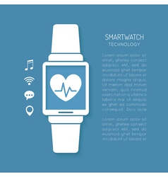Wearable technology symbol with heartbeat tracker vector