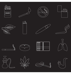 Smoking and cirarettes simple outline icons set vector