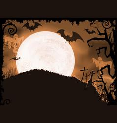 Spooky orange halloween night vector