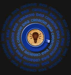 Blue cup of light bulb in cappuccino vector