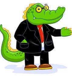 Business crocodile vector