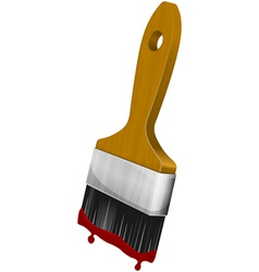 Wooden paint brush vector
