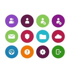 User account circle icons on white background vector