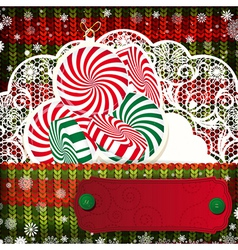 Christmas decorations on handmade knitted vector