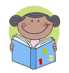 African american kid girl reading a book vector