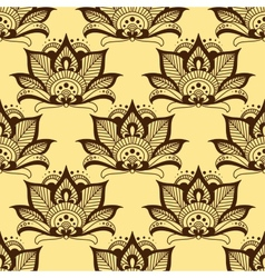 Persian brown paisley seamless floral pattern vector