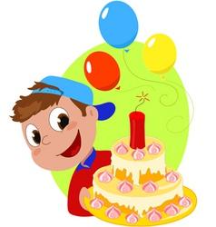 Explosive birthday cake vector