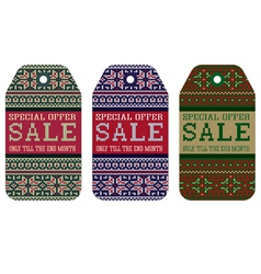 Knitting pattern ornament christmas sale vector