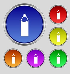 Plastic bottle with drink icon sign round symbol vector