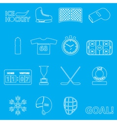 Ice hockey sport outline icons set eps10 vector